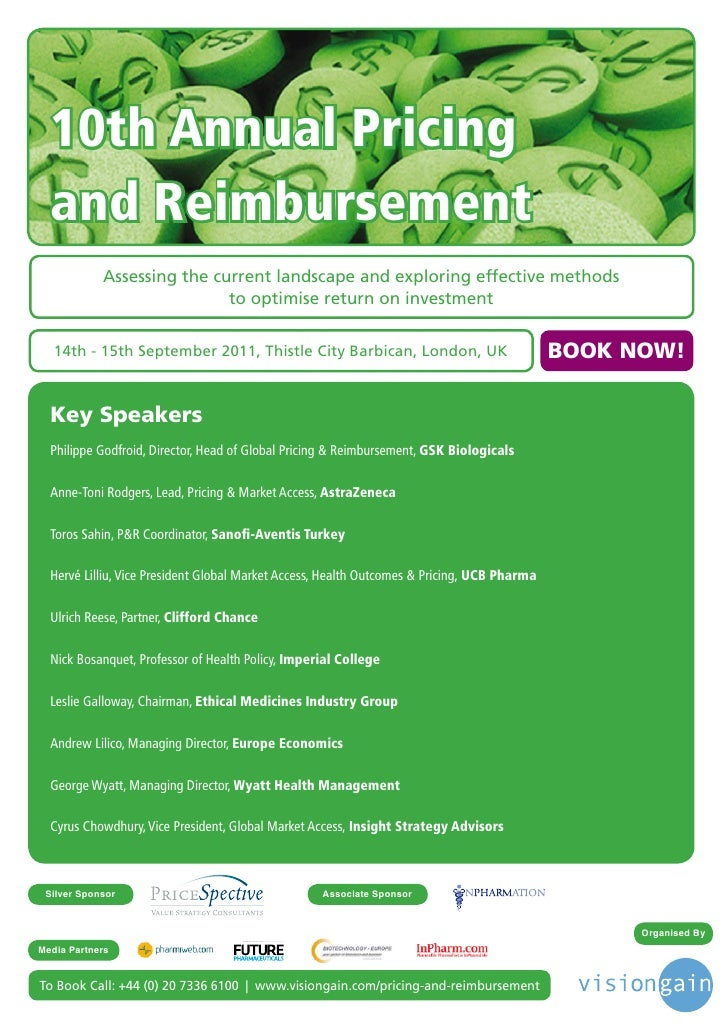 10th Annual Pricing  and Reimbursement            Assessing the current landscape and exploring effective methods         ...