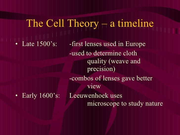 The Cell Theory – a timeline <ul><li>Late 1500's:  -first lenses used in Europe </li></ul><ul><li>-used to determine cloth...