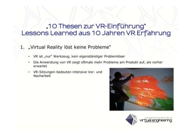 10 Thesen zur VR-Einführung - Lessons Learned aus 10 Jahren VR-Erfahrung