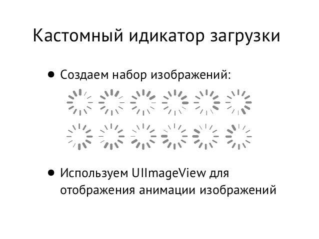 Кастомный идикатор загрузки • Создаем набор изображений: • Используем UIImageView для   отображения анимации изображений