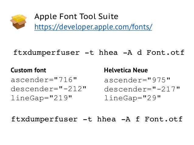 Apple Font Tool Suite       https://developer.apple.com/fonts/ftxdumperfuser -t hhea -A d Font.otfCustom font             ...