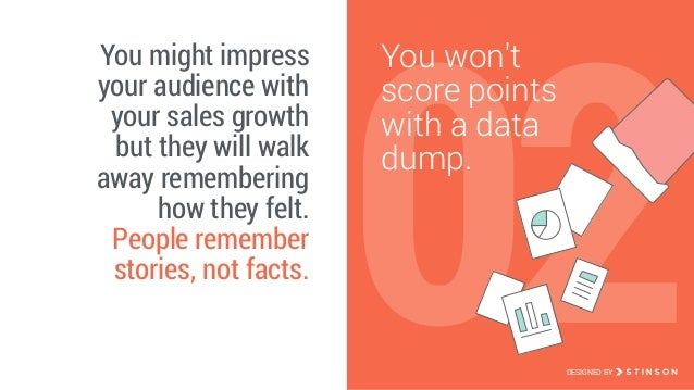 02 You won't score points with a data dump. You might impress your audience with your sales growth but they will walk awa...