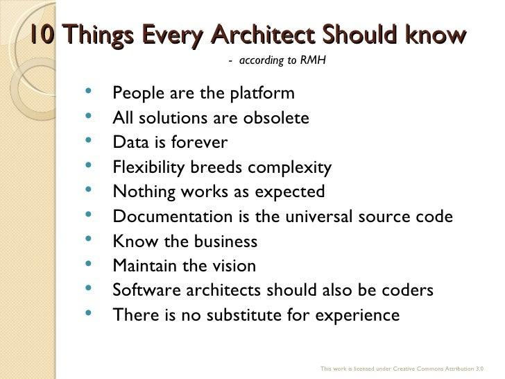 O 39 reilly webcast ten things every software architect - Should i be an architect ...