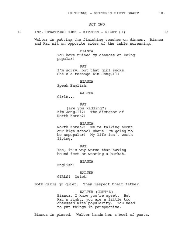 10 Things I Hate About You Pilot Screenplay