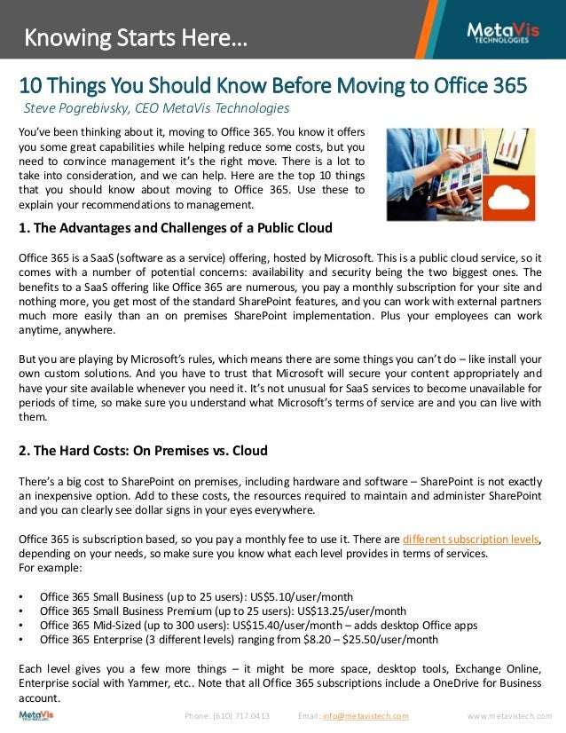 White Paper- 10 Things to Consider When Going to Office 365