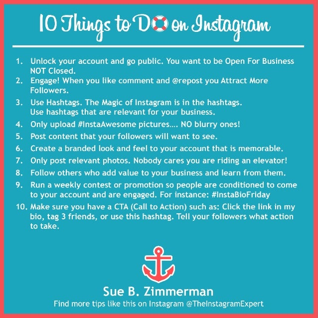 10 things to do on instagram