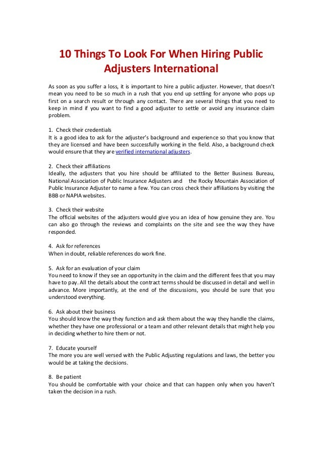 10 Things To Look For When Hiring Public Adjusters International