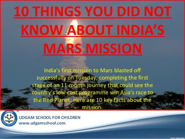 10 Things I Know About You: 10 Things You Did Not Know About India's Mission To Mars