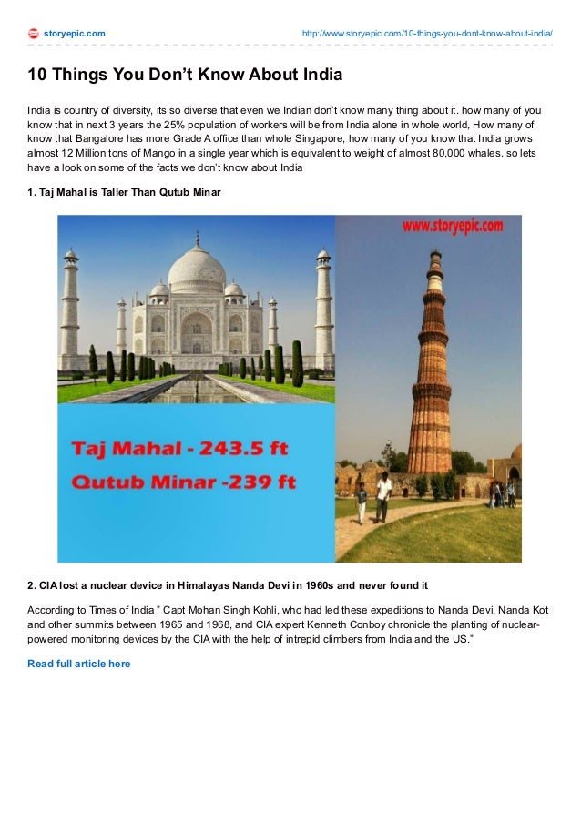 storyepic.com http://www.storyepic.com/10-things-you-dont-know-about-india/ 10 Things You Don't Know About India India is ...