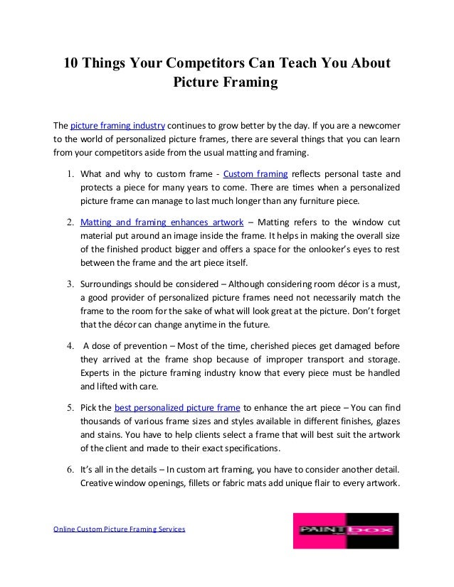 Picture Framing Tips- What you can learn from your Competitors?