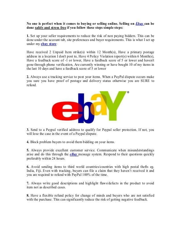 10 Things You Should Know To Sell Safely And Stress Free On Ebay