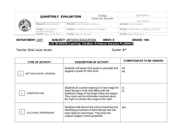 QUARTERLY EVALUATION Código GS-FR-084 CFecha de Versión2011-09-22Elaboró: Edith Ceferino Revisó: Luis Fernando Contreras A...
