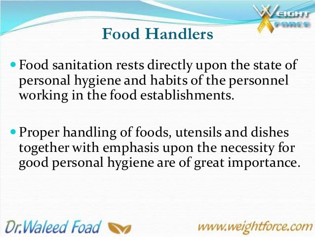 10th Lecture Personal Hygiene Of Food Handlers