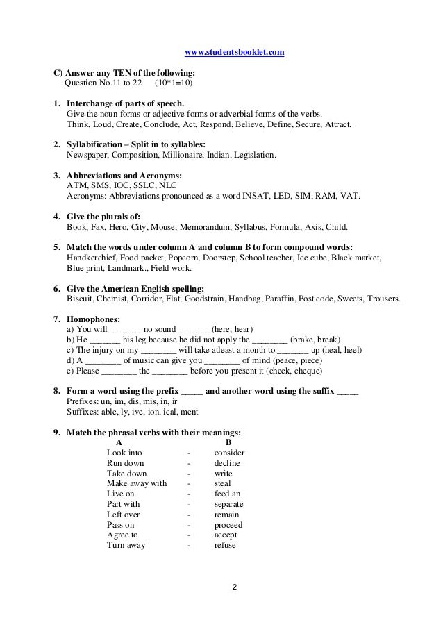 2 www.studentsbooklet.com C) Answer any TEN of the following: Question No.11 to 22 (10*1=10) 1. Interchange of parts of sp...