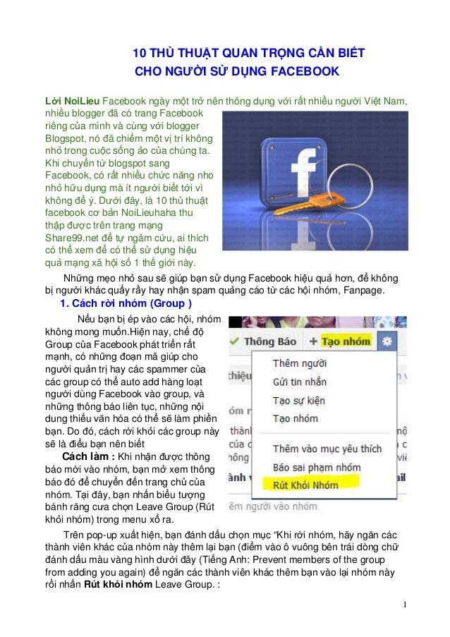 10 THỦ THUẬT QUAN TRỌNG CẦN BIẾT CHO NGƯỜI SỬ DỤNG FACEBOOK Lời NoiLieu Facebook ngày một trở nên thông dụng với rất nhiều...