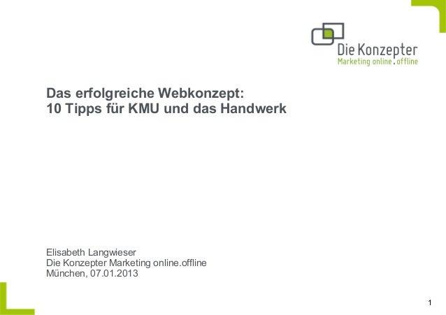 Das erfolgreiche Webkonzept:10 Tipps für KMU und das HandwerkElisabeth LangwieserDie Konzepter Marketing online.offlineMün...