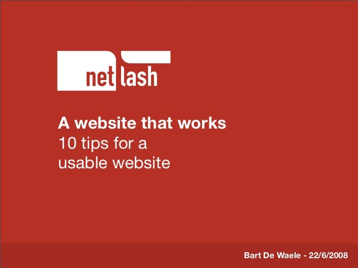 A website that works          Titel tekst 10 tips for a usable website          Beschrijving slide                        ...