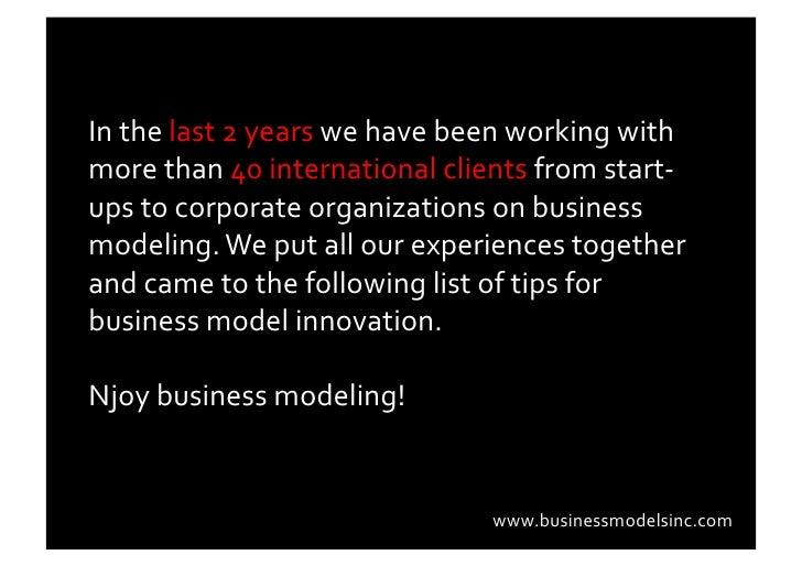 10 Tips 4 Business Model Innovation Slide 2