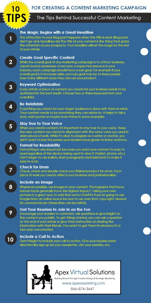 10 Tips for Creating a Successful Content Marketing Campaign Infograhic