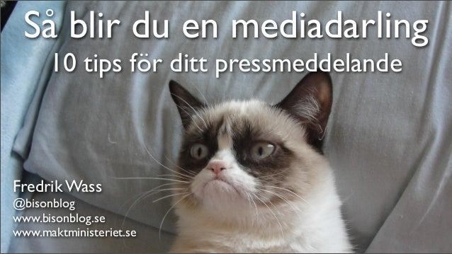 Så blir du en mediadarling      10 tips för ditt pressmeddelandeFredrik Wass@bisonblogwww.bisonblog.sewww.maktministeriet.se