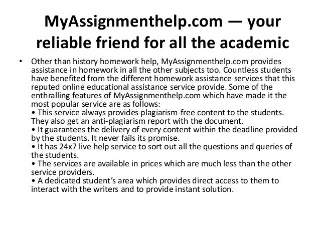 How to get history homework help from MyAssignmenthelp.com?