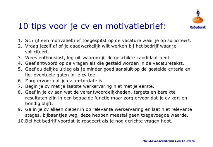 Motivatiebrief Tips | hetmakershuis