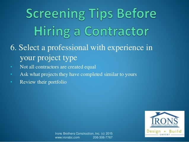 10 tips on hiring a contractor for Hiring a contractor