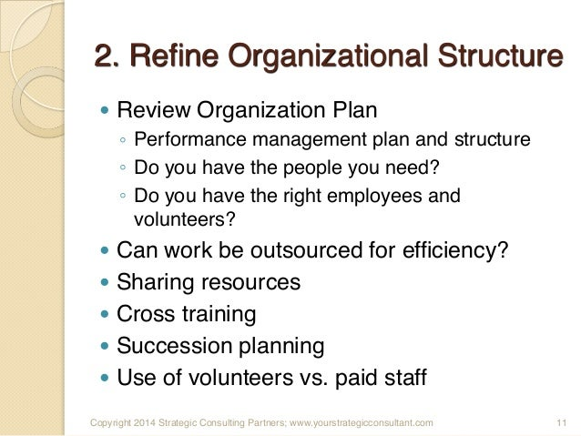 3 3 construct a long term strategic management plan for sustaining organizational performance Outlined their critical strategic issues for the next 3  organizational restructuring management practices  long-term candidates .