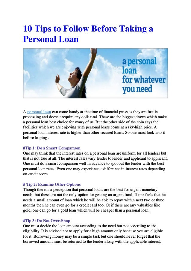 Best Personal Loan Rates >> 10 Tips To Follow Before Taking A Personal Loan