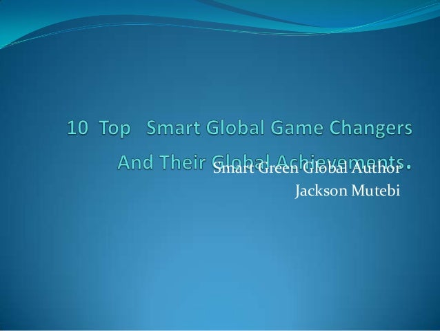 Smart Green Global Author           Jackson Mutebi