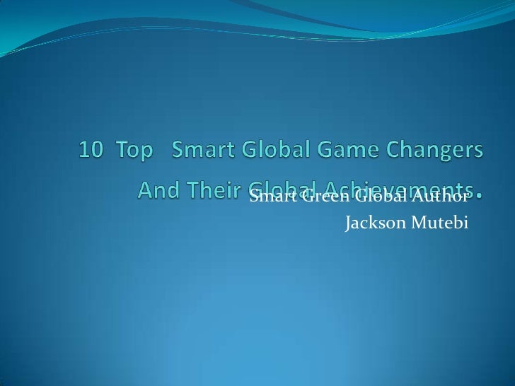 Smart Green Global Author           Jackson Mutebi