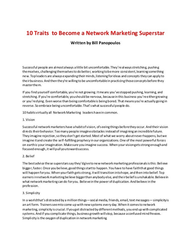 cheap for discount 3e567 c7d5a 10 Traits to Become a Network marketing Superstar