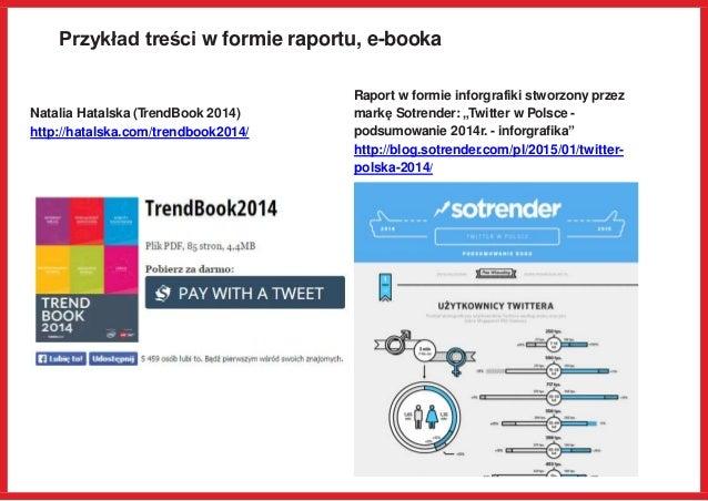 Przykład treści w formie raportu, e-booka Natalia Hatalska (TrendBook 2014) http://hatalska.com/trendbook2014/ Raport w fo...