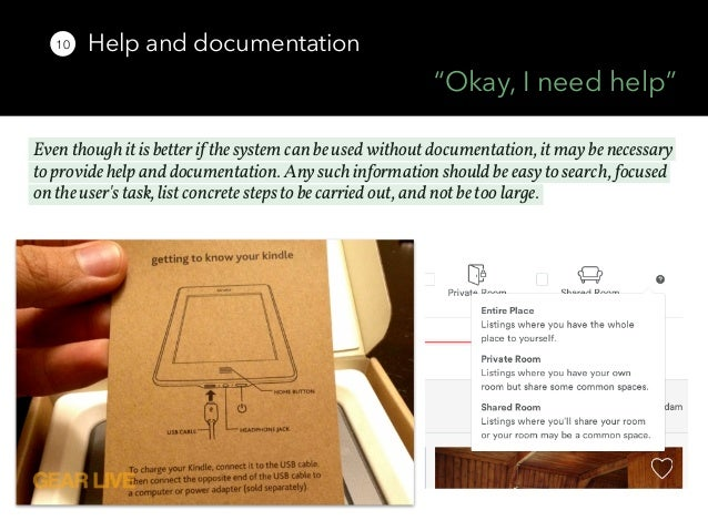 help and documentation heuristic