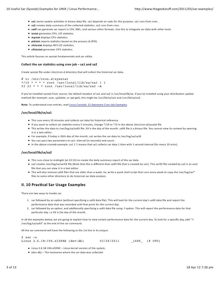 Generate cpu, memory and i/o report using sar command.