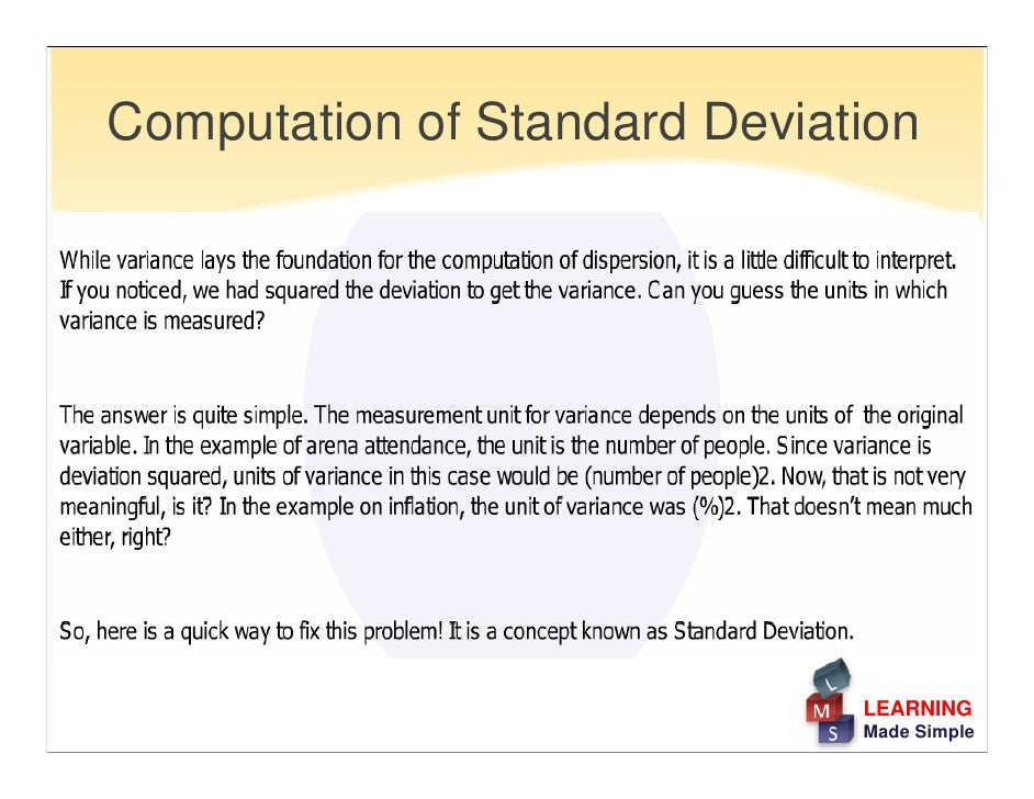 variance and standard deviation paper Hypothesis test and confidence interval estimates for population standard deviation or variance.