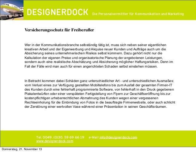 ∂  Die Personalvermittler für Kommunikation und Marketing  Versicherungsschutz für Freiberufler Wer in der Kommunikationsbr...