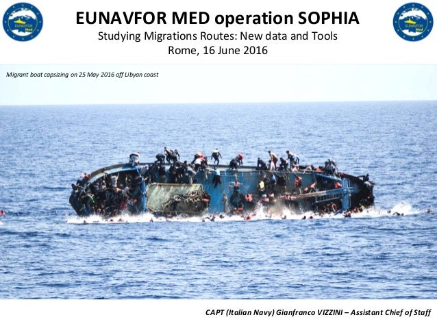 EU LIMITE EUNAVFOR MED operation SOPHIA Studying Migrations Routes: New data and Tools Rome, 16 June 2016 Migrant boat cap...