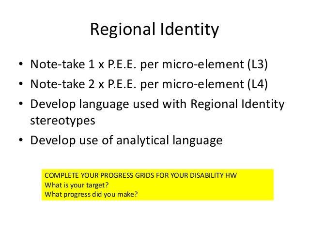 Regional Identity• Note-take 1 x P.E.E. per micro-element (L3)• Note-take 2 x P.E.E. per micro-element (L4)• Develop langu...
