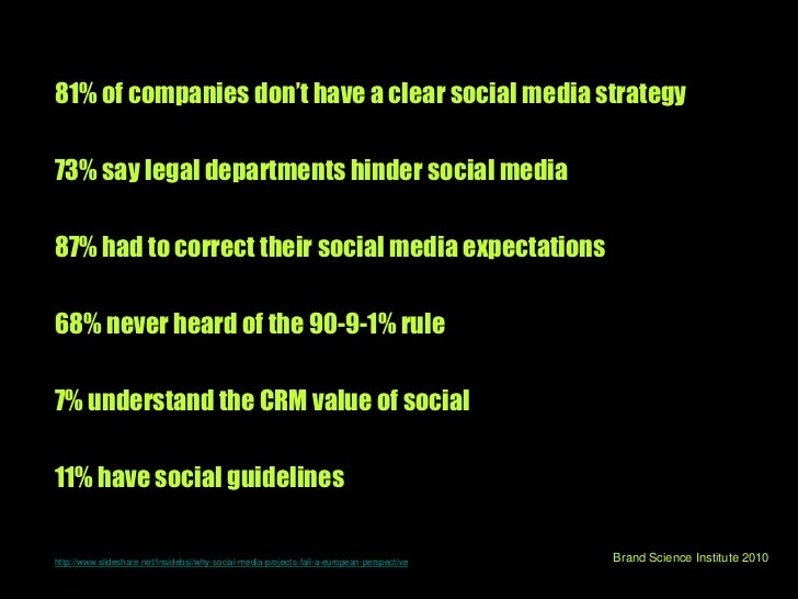 81% of companies don't have a clear social media strategy<br />73% say legal departments hinder social media <br />87% had...