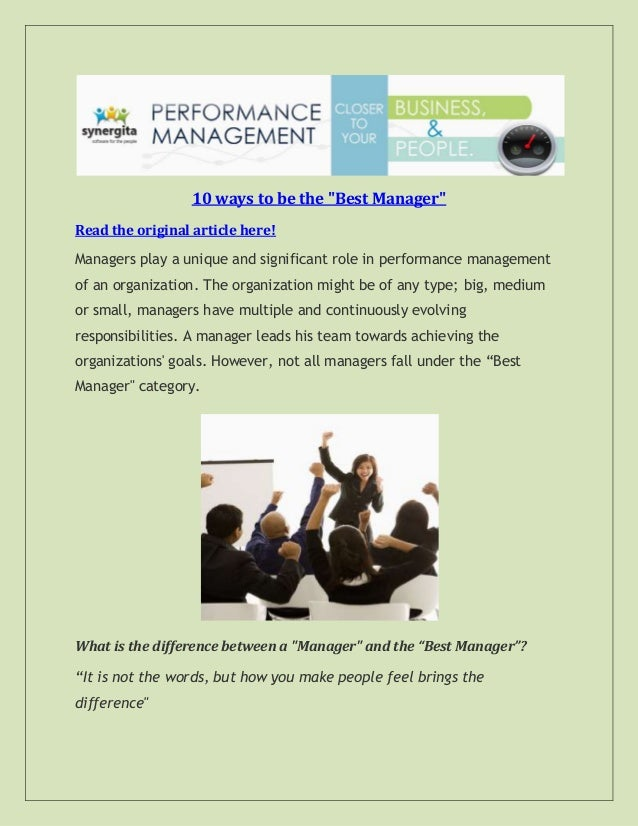 """10 ways to be the """"Best Manager"""" Read the original article here! Managers play a unique and significant role in performanc..."""