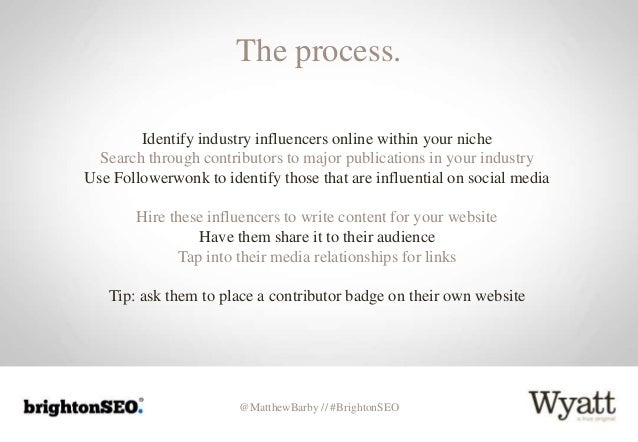 @MatthewBarby // #BrightonSEO The process. Identify industry influencers online within your niche Search through contribut...