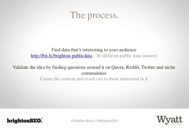 @MatthewBarby // #BrightonSEO The process. Find data that's interesting to your audience http://bit.ly/brighton-publicdata...