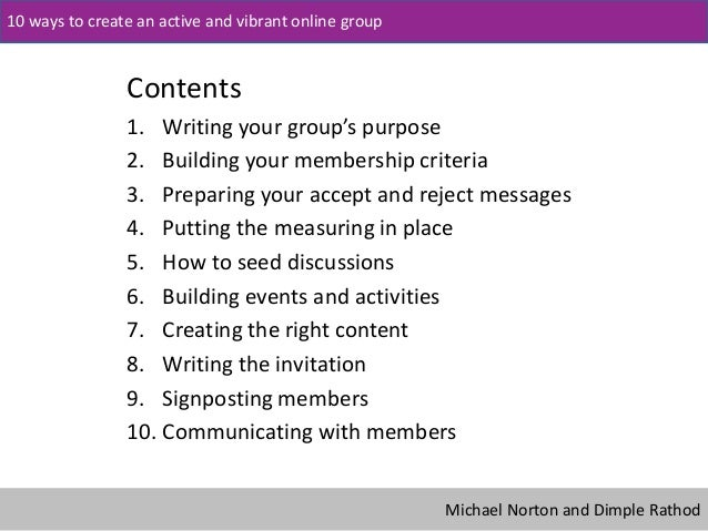 10 ways to create an active and vibrant online group Slide 2