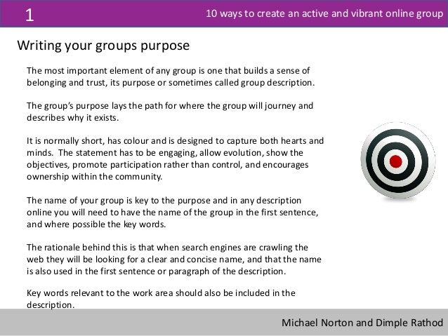 10 ways to create an active and vibrant online group Slide 3