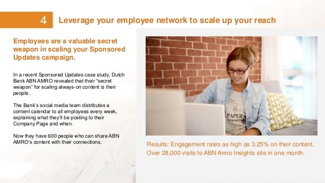 4 Leverage your employee network to scale up your reach Employees are a valuable secret weapon in scaling your Sponsored U...
