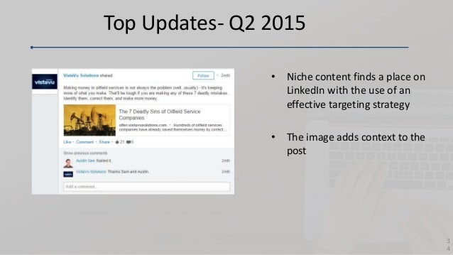 Top Updates- Q2 2015 • Niche content finds a place on LinkedIn with the use of an effective targeting strategy • The image...