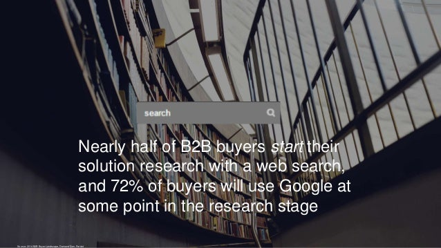 Nearly half of B2B buyers start their solution research with a web search, and 72% of buyers will use Google at some point...