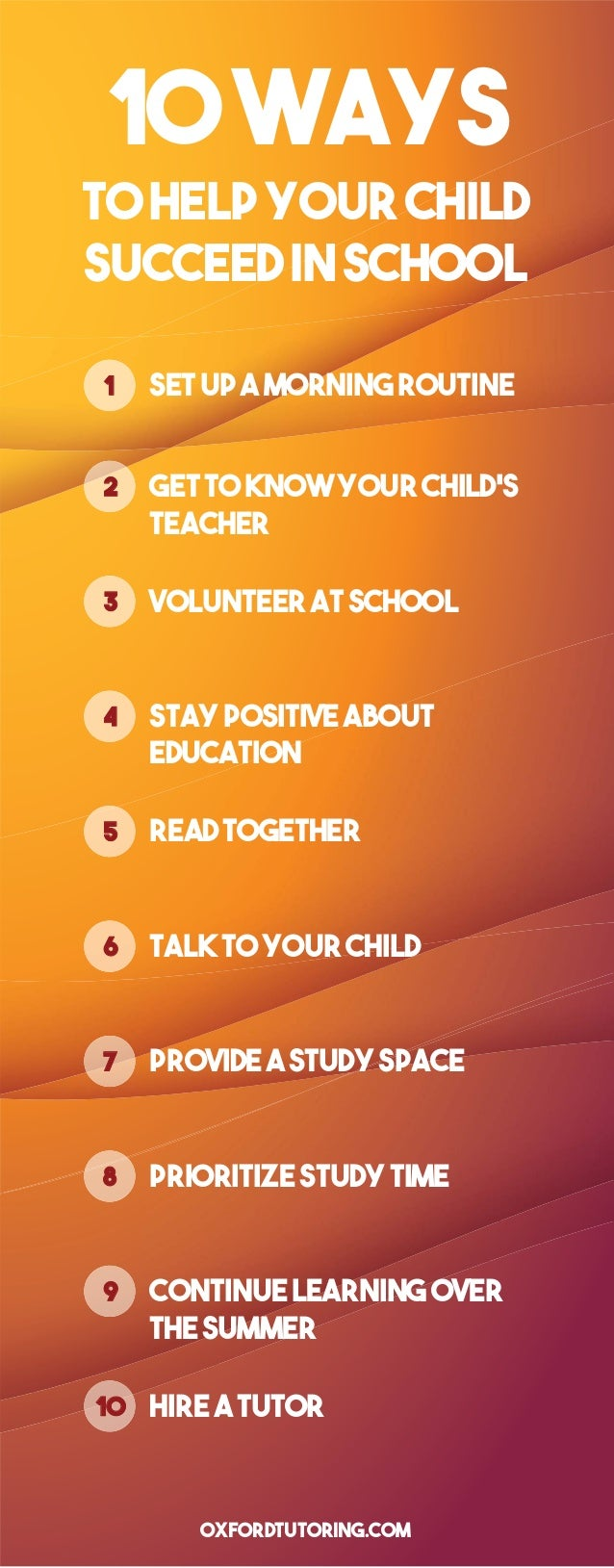 10WAYS tohelpyourchild succeedinschool 11 Setupamorningroutine 2 Gettoknowyourchild's teacher 3 Volunteeratschool 4 Staypo...