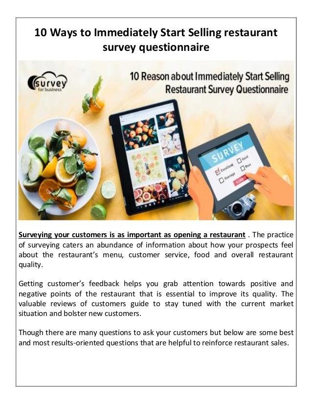 10 ways to immediately start selling restaurant survey questionnaire